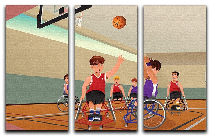 Wheelchairs playing basketball 3 Split Panel Canvas Print