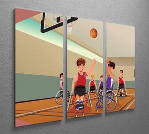Wheelchairs playing basketball 3 Split Panel Canvas Print - Canvas Art Rocks - 2