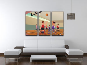 Wheelchairs playing basketball 3 Split Panel Canvas Print - Canvas Art Rocks - 3