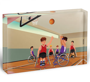 Wheelchairs playing basketball Acrylic Block - Canvas Art Rocks - 1