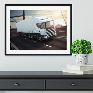 White Lorries Framed Print - Canvas Art Rocks - 1