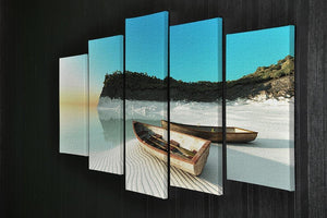White Sand Boats 5 Split Panel Canvas - Canvas Art Rocks - 2