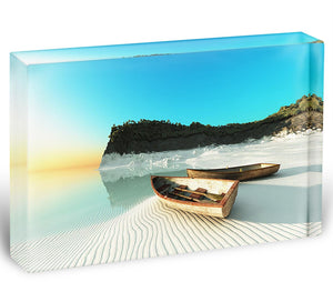 White Sand Boats Acrylic Block - Canvas Art Rocks - 1