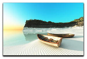 White Sand Boats Canvas Print or Poster - Canvas Art Rocks - 1