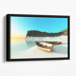 White Sand Boats Floating Framed Canvas