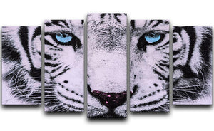 White Tiger Face 5 Split Panel Canvas - Canvas Art Rocks - 1