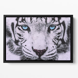 White Tiger Face Floating Framed Canvas - Canvas Art Rocks - 2