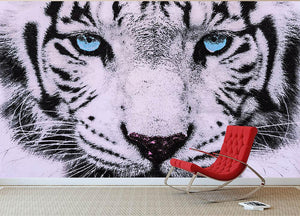 White Tiger Face Wall Mural Wallpaper - Canvas Art Rocks - 2