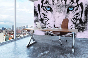 White Tiger Face Wall Mural Wallpaper - Canvas Art Rocks - 3