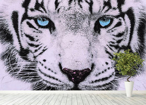 White Tiger Face Wall Mural Wallpaper - Canvas Art Rocks - 4
