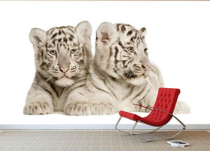 White Tiger cubs Wall Mural Wallpaper - Canvas Art Rocks - 2