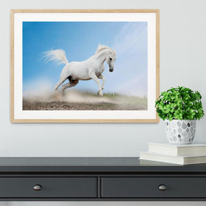 White arabian horse Framed Print - Canvas Art Rocks - 3