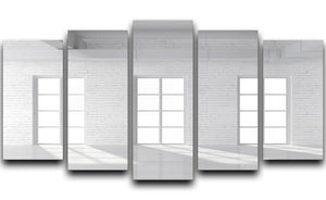 White brick loft with window 5 Split Panel Canvas - Canvas Art Rocks - 1