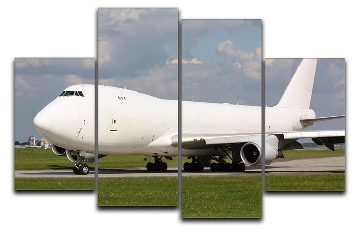 White cargo plane taxi 4 Split Panel Canvas