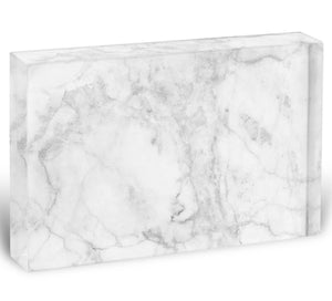 White gray marble patterned Acrylic Block - Canvas Art Rocks - 1
