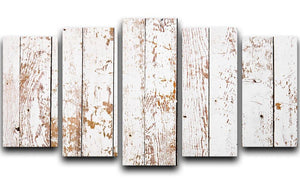 White grunge wooden 5 Split Panel Canvas - Canvas Art Rocks - 1
