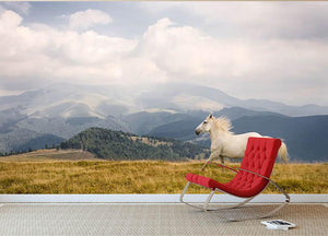 White horse Wall Mural Wallpaper - Canvas Art Rocks - 2
