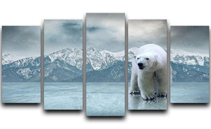 White polar bear on the ice 5 Split Panel Canvas - Canvas Art Rocks - 1