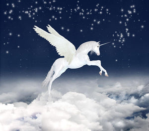 White unicorn flying in the sky Wall Mural Wallpaper - Canvas Art Rocks - 1