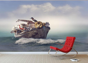 Wild Animals and Birds in an Old Boat Wall Mural Wallpaper - Canvas Art Rocks - 2