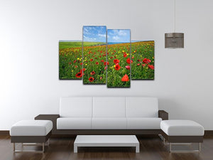 Wild Flower Meadow 4 Split Panel Canvas - Canvas Art Rocks - 3