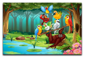 Wild animals in the forest illustration Canvas Print or Poster  - Canvas Art Rocks - 1