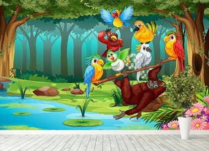 Wild animals in the forest illustration Wall Mural Wallpaper - Canvas Art Rocks - 4