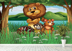 Wild animals in the jungle Wall Mural Wallpaper - Canvas Art Rocks - 4