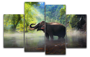 Wild elephant in the beautiful forest 4 Split Panel Canvas - Canvas Art Rocks - 1