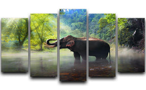 Wild elephant in the beautiful forest 5 Split Panel Canvas - Canvas Art Rocks - 1