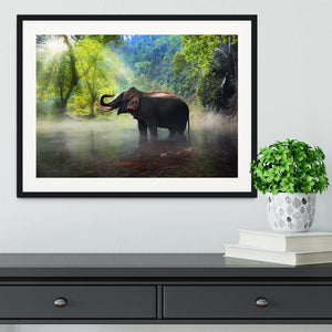 Wild elephant in the beautiful forest Framed Print - Canvas Art Rocks - 1