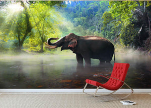 Wild elephant in the beautiful forest Wall Mural Wallpaper - Canvas Art Rocks - 2
