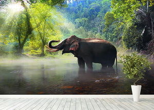Wild elephant in the beautiful forest Wall Mural Wallpaper - Canvas Art Rocks - 4