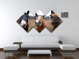 Wild horses on the meadow at spring time 4 Square Multi Panel Canvas - Canvas Art Rocks - 3