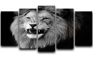 Wild lion portrait in black and white. 5 Split Panel Canvas - Canvas Art Rocks - 1