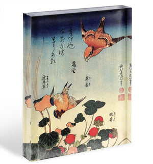 Wild strawberries and birds by Hokusai Acrylic Block - Canvas Art Rocks - 1