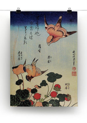 Wild strawberries and birds by Hokusai Canvas Print or Poster - Canvas Art Rocks - 2