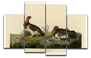 Willow Grouse by Audubon 4 Split Panel Canvas - Canvas Art Rocks - 1