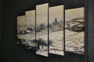 Winter At Giverny 1885 by Monet 5 Split Panel Canvas - Canvas Art Rocks - 2