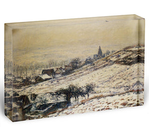 Winter At Giverny 1885 by Monet Acrylic Block - Canvas Art Rocks - 1