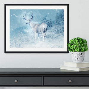Winter Moose Framed Print - Canvas Art Rocks - 1