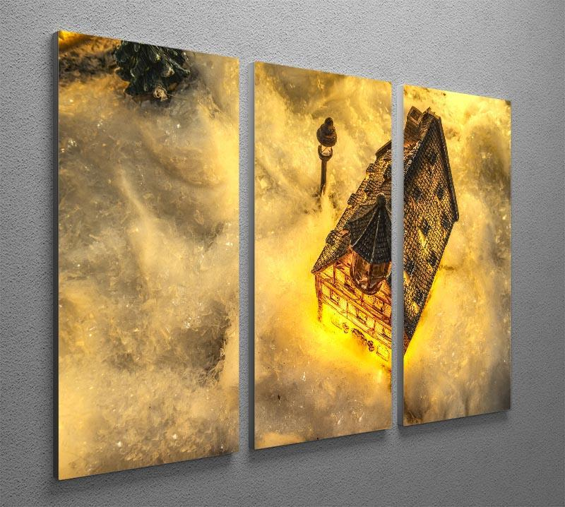 Winters Home 3 Split Panel Canvas Print - Canvas Art Rocks - 2