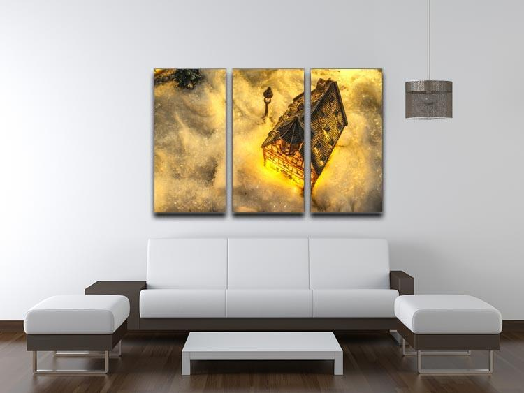 Winters Home 3 Split Panel Canvas Print - Canvas Art Rocks - 3
