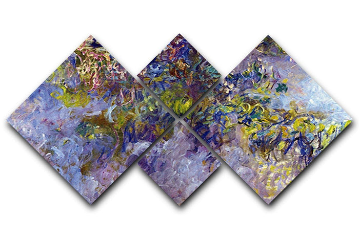 Wisteria 1 by Monet 4 Square Multi Panel Canvas