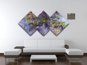 Wisteria 1 by Monet 4 Square Multi Panel Canvas - Canvas Art Rocks - 3