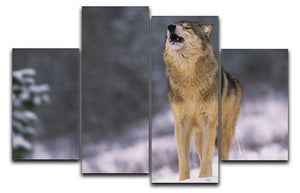 Wolf Howling in White Snow 4 Split Panel Canvas - Canvas Art Rocks - 1