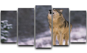 Wolf Howling in White Snow 5 Split Panel Canvas - Canvas Art Rocks - 1