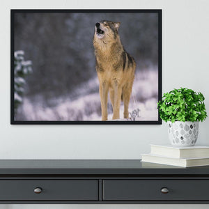 Wolf Howling in White Snow Framed Print - Canvas Art Rocks - 2