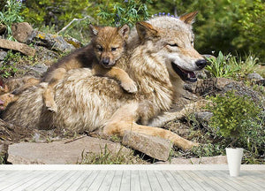 Wolf cubs and mother at den site Wall Mural Wallpaper - Canvas Art Rocks - 4