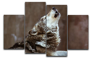 Wolves howl in Moscow Zoo 4 Split Panel Canvas - Canvas Art Rocks - 1